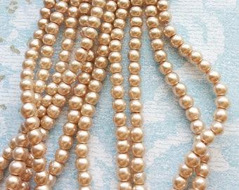 "Pearl Glass Bead Round Imitation 4mm, 82CM long (32"" Strand) - B5041"