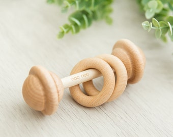 Organic Wooden Teething Rattle