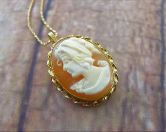 Antique Cameo Necklace in 14k Yellow Gold - Cameo Brooch-Pin in Gold - Mother's Day Gift