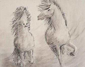 print of painting, Island horses
