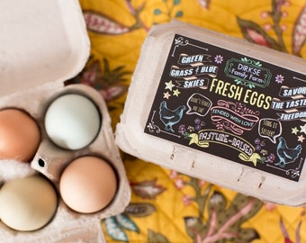 Custom Egg Carton Labels - Chalkboard Style - Pasture Raised - Happy Hens - Fresh Eggs - Customize them for your Farm - Half Dozen Cartons
