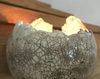 "Atmospheric candlesticks ""bubbles"" Raku ceramic"