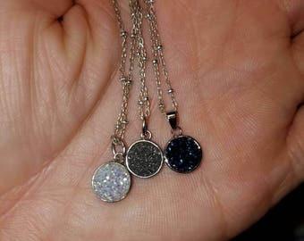 Druzy quartz pendant with necklace 925 sterlingsilver