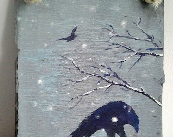 Crows in the Snow Painted Slate