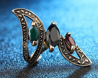 Unique Elegant Vintage Style Antique Finish Turkish Jewelry, Gift, Antique Gold Plated Sapphire Ruby Emerald Ring, US Size 8