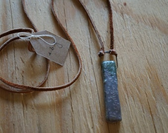 Ceramic Necklace, Soft Deerskin Leather, Clay Necklace, Rustic Necklace, Ceramic Pendant, Suede Necklace, Suede Jewelry, Leather Jewelry