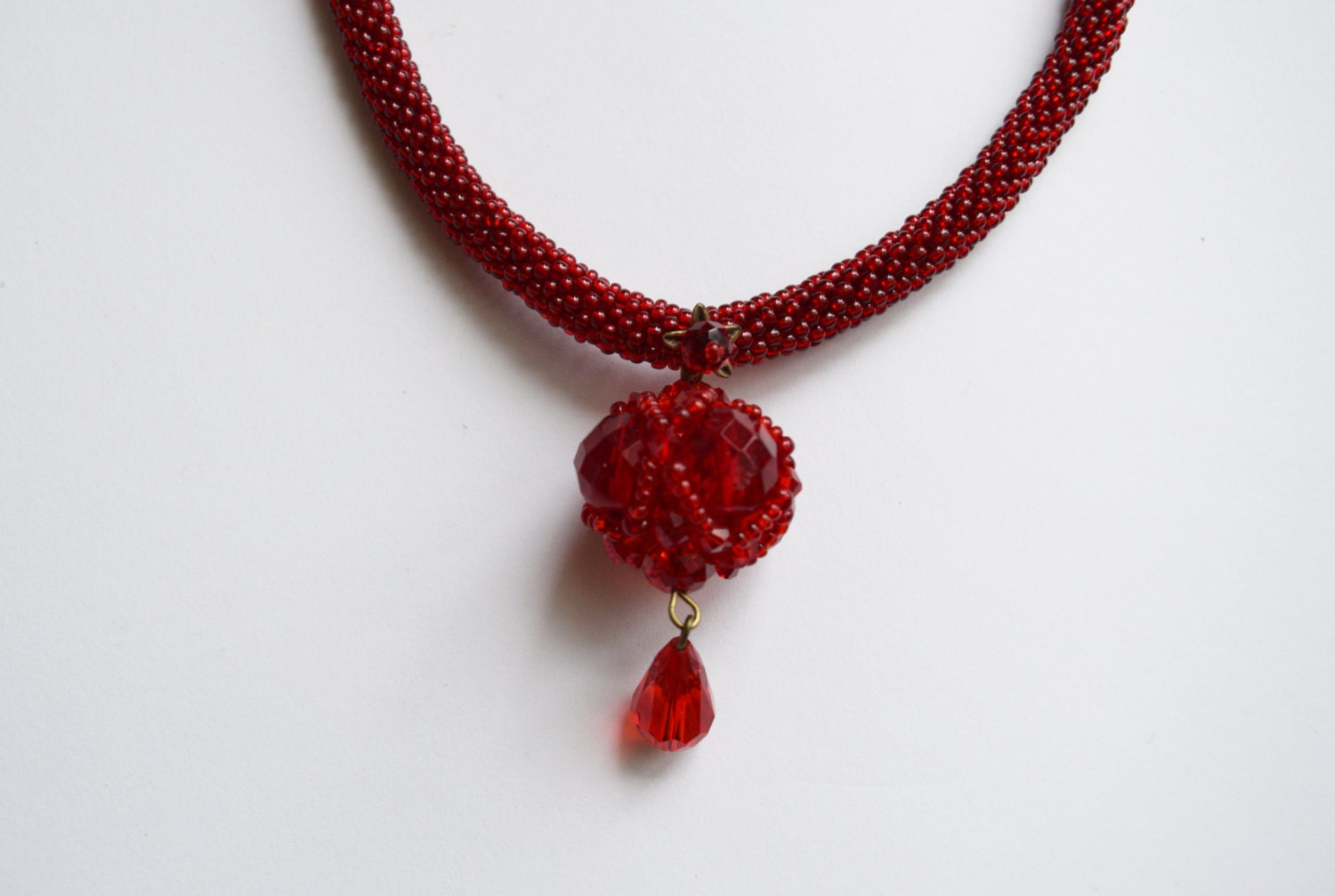 seed bead crochet rope necklace beaded rope necklace
