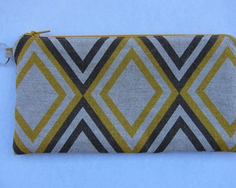 Canvas fabric fully lined pencil pouch with yellow and grey diamond pattern sturdy and fun