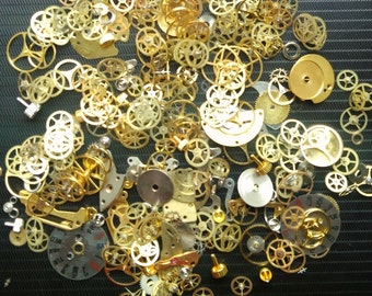 20g Steampunk Watch Movement Parts Gears Cogs Wheels Assorted Lot Industrial Art