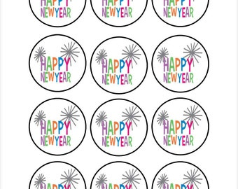 Edible Happy New Year Cupcake Cookie Toppers