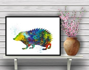 Hedgehog, Animal, Colorful Watercolor, Room Decor, Nature, Home Decoration, Wildlife, gift, print (357)