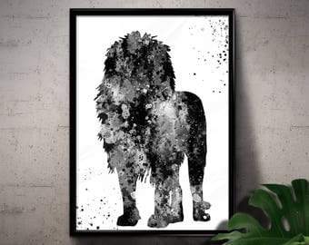 Lion, African Animal, Wildlife, Nature, Black and White Watercolor, Printable Wall Art, Home Decoration, gift  Instant Download (06)