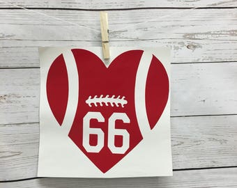 Football Decal, Football Car Decals, Heart Football Decals, Personalized Football Decals, Bumper stickers, football stickers, sports decals,