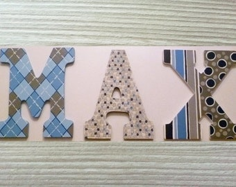 Custom Hand Painted Letters Wooden Wall Hanging Modern Design Argyle Stripes Polka Dots Gift Baby Child Name Nursery Decor Boy - Max