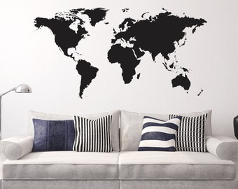 World Map Wall Decal Etsy - Custom vinyl wall decals canada   how to remove