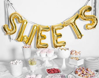 "SWEETS Letter Balloons | 16"" Gold Letter Balloons 
