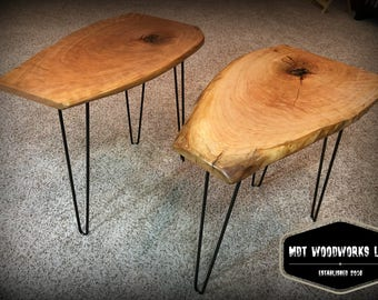 Live Edge Cherry Side Table with Hairpin Legs