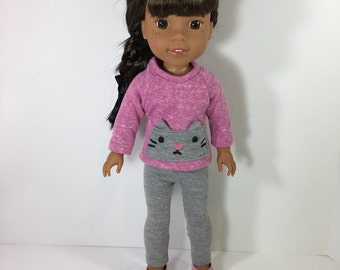 14.5 Inch Doll Clothes- Sweater, Leggings, and shoes fits Dolls Like Wellie Wishers doll clothes