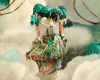 Floating Island Jungle Temple - Hanging Nursery Decor - Kids Bedroom Art - Suspended Decoration - Cute Trees & Vines - Jungle Ruins Design