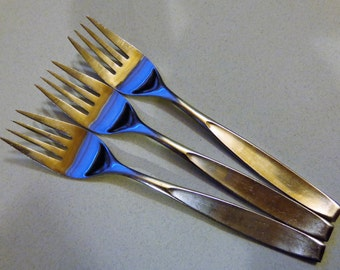 Tahoe Imperial 3 Salad Forks International Vintage Stainless Flatware Forks