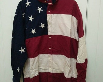 Rare Vintage TOMMY HILFIGER Usa Flag Design Long Sleeve Size XL Extra Large