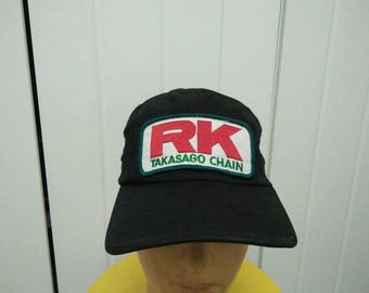 Rare Vintage RK TAKASAGO CHAIN Patched Big Logo 5 Panel Cap Hat Free size fit all