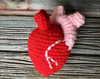 Anatomical Heart Plush, Crochet Anatomical Heart, Anatomy Amugurimi, Funny Valentine