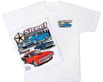 Mopar Street Warriors White T Shirt   HS #039 Plymouth Hemi U0027Cuda GTX