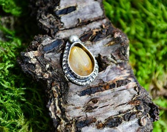 CUSTOM Rutilated Quartz Sterling Silver Ring OR pendant