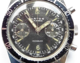 Lator 200M DIVE Chronograph Stainless Steel Landeron 248 Watch Superb Gents Professionally Serviced 6 Months Warranty