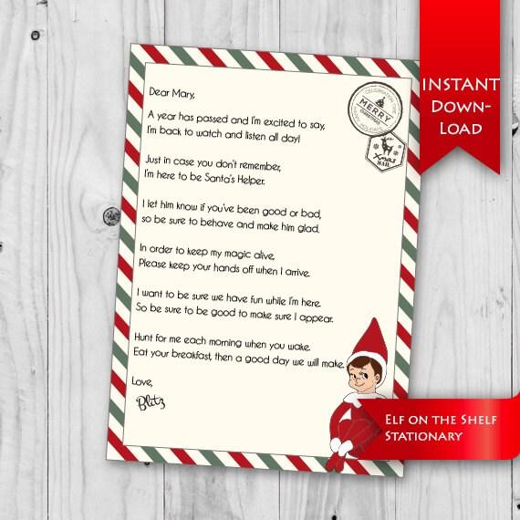 on Shelf Letter | Elf on the shelf | Elf I'm Back letter | | Editable ...