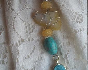 AmBelleshments - Turquoise Sunshine - polished agate cabochon necklace