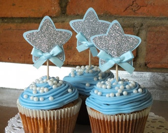 Twinkle Little Star Cupcake Toppers, Silver and Blue, Baby Shower, Birthday Decor, Boy Birthday, First Birthday