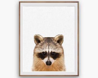 Raccoon Print, Raccoon Nursery Art Decor, Owl Wall Art Decor, peekaboo print, Digital Download, Large Printable Poster, Forest Animals, kids
