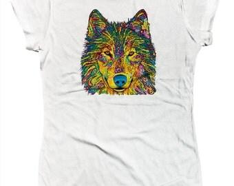 Neon Wolf Face Pup Canine Wildlife Timberwolf Pack Alpha Juniors T-shirt SF_0253