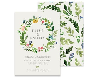 Wreath Wedding Invitation | Temperate | Printable DIY Invite, Affordable Wedding Invitation | Bright watercolor florals on white background