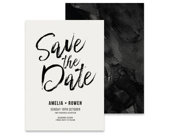Save the Date Printable Invitation | Inka | Printable DIY Wedding Invite, Save the date, Modern Black & White Save the Date