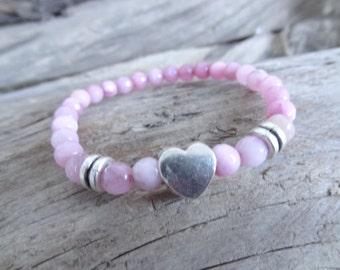 EXPRESS SHIPPING,Pink Agate Bracelet,Unisex Heart Bracelet,Stone Jewelry,Stretch Bracelet,Yoga,Meditation,Beaded Spiritual,Gift for Her