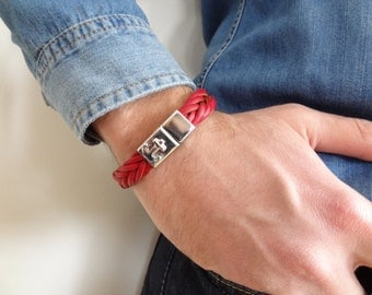 EXPRESS SHIPPING,Red Thick Braided Leather Bracelet,High Quality Leather Bracelet, Men's Jewelry,Magnetic Clasp Bracelet, Father's Day Gifts