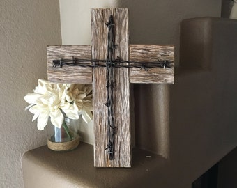 "Barn Wood Cross Rustic Wooden Cross Decorative Cross Reclaimed Wood Barbed Wire Home Decor Wall Cross Measurements - 14 1/4"" x 11 1/4"