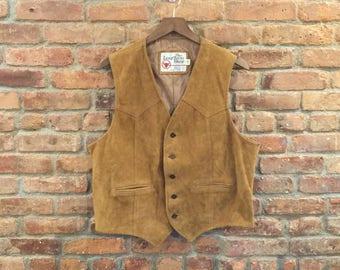 Vintage 1970s Genuine Leather Suede Vest Brown Moto Boho Western