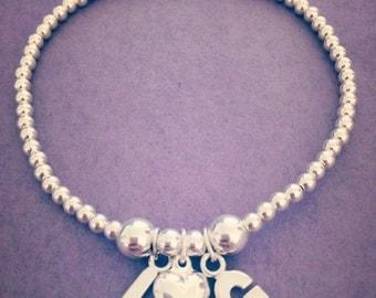 Sterling Silver Double Initial & Heart Charm Bracelet