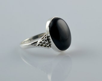 Black onyx Ring ~ Black Onyx ~ 925 Solid Sterling Silver Ring ~ Handmade Ring ~ Silver Ring ~ Stone Ring ~ Custom US Sizes Available 4 to 13