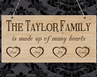 Personalised Wooden Plaque Family Hearts Birthday Christmas Gift