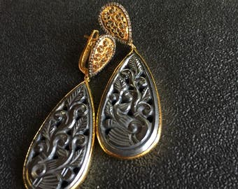 Gunmetal Gemstone Carving Earring Pair in  Gold Platted Sterling Silver with Diamonds