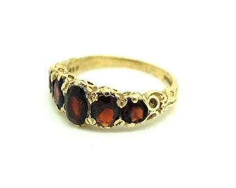 Vintage Garnet Ring |  Ring Size 6 | Gold Ring | 1985 Ring | Garnet Ring | 9ct Ring | Yellow Gold Ring | Gold Band | Gemstone Ring