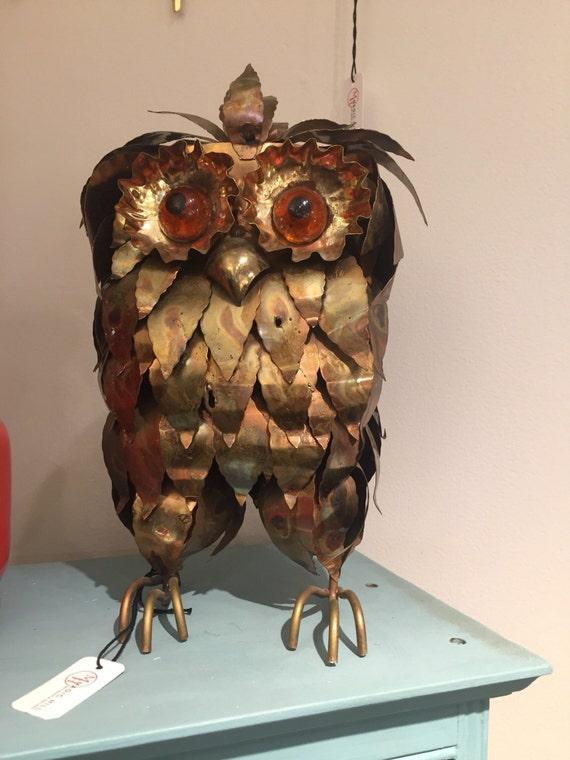 Vintage metal Brutalist owl sculpture