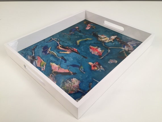 "Lacquer tray with white border around. ""The Birds"" by Bruce Mishell"