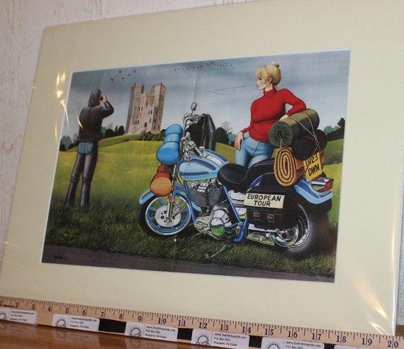 David Mann ''European Tour'' 16'' x 20'' Matted Motorcycle Biker Art #9005ezrxm