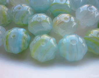 24 Hurricane Glass Beads, Aqua and Yellow Stripes, 11mm x 8mm Faceted Rondelle